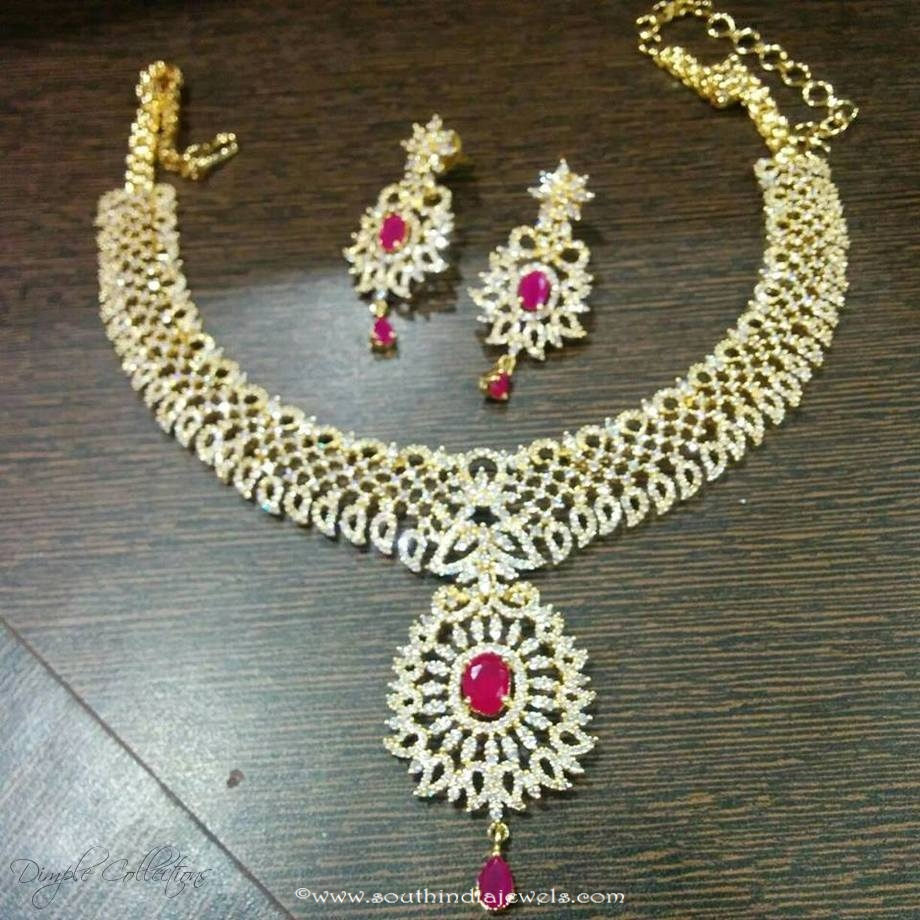 38705378e American Diamond Necklace Set From Dimple Collections ~ South India ...