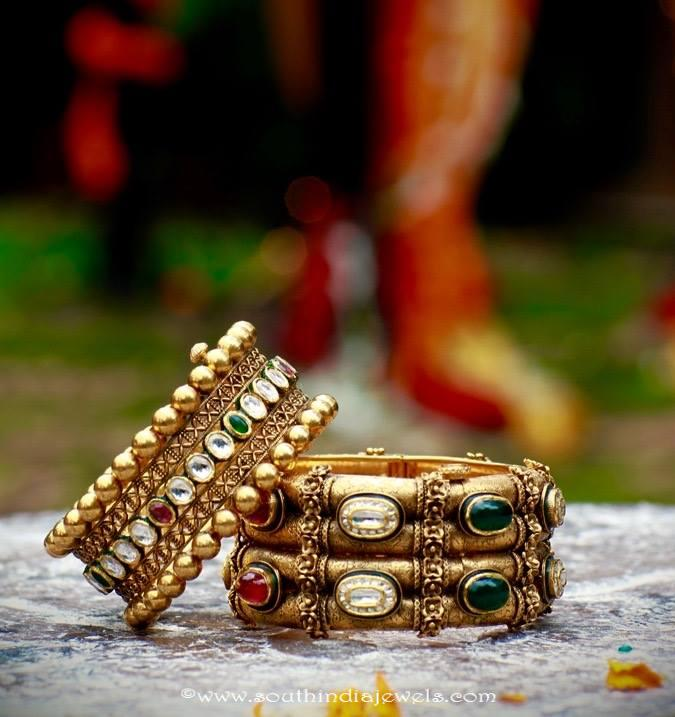 Designer Gold Kundan Bangles from Manuhai Jewellers