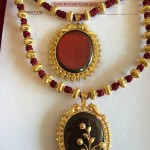 Fancy Threaded Gold Necklace with Stone Pendant
