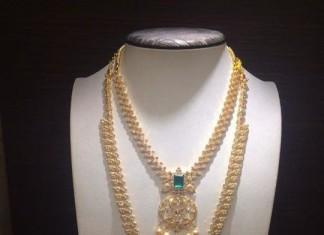 Gold Stone Long Necklace Set Designs