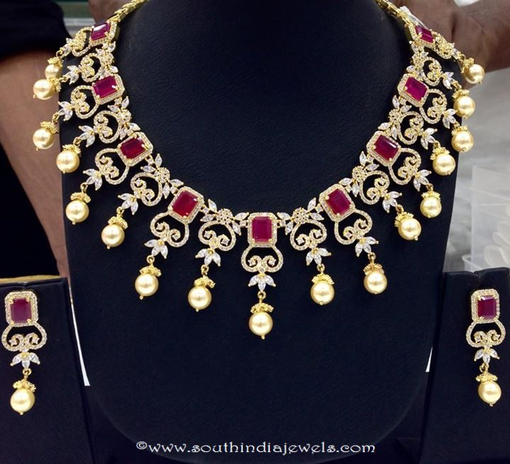 Ruby CZ stone choker necklace set