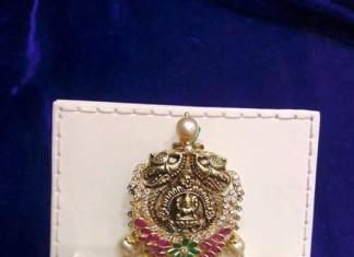 gold anitque ruby emerald pendant