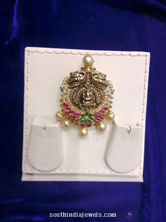 gold anituq ruby emerald pendant