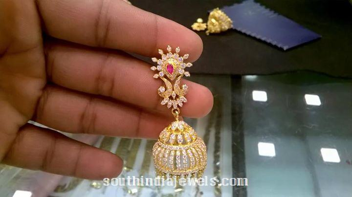 gold diamond jhumka latest model 2015