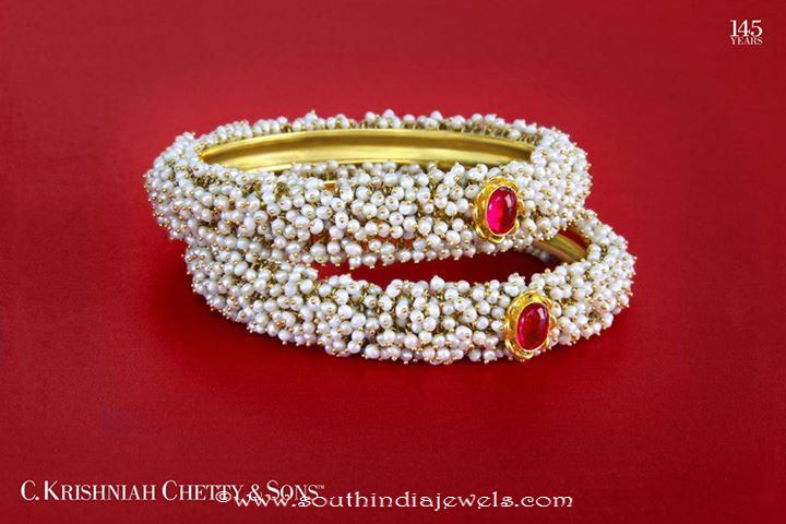 Gold Pearl Bangle Design From C Krishniah Chetty Sons