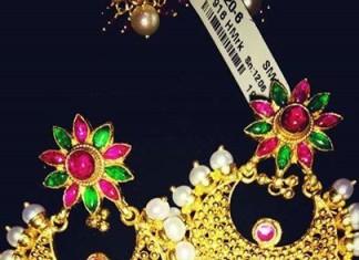 Gold Designer Chandbali Earrings