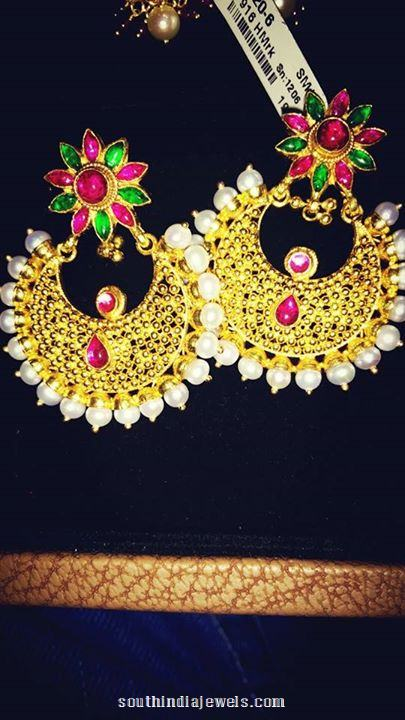 Gold Designer Chandbali Earrings