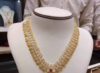 Gold Stone Long Necklace Design