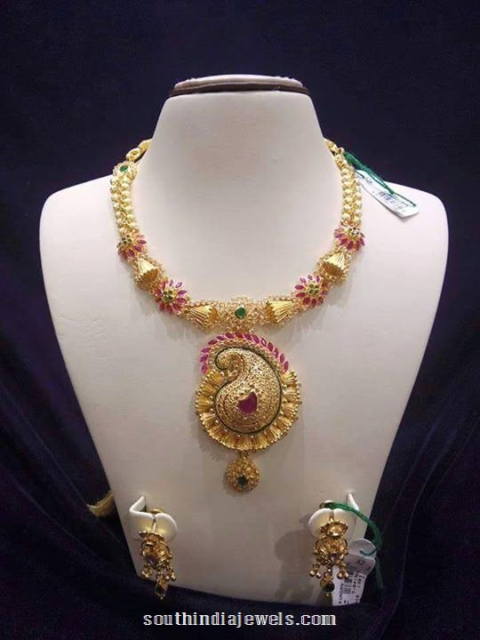 Gold Stylish designer necklace from sree harsha jewellers