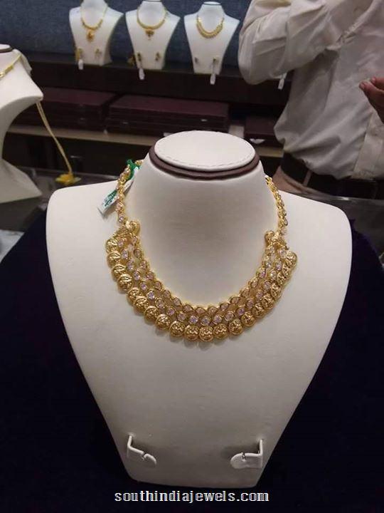 Gold White Stone Kasumalai Necklace