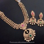 One Gram Gold Stone Necklace Set with Earrings