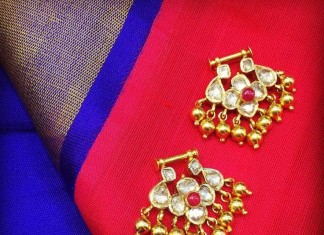 Gold uncut bali earrings from sakhi fashions