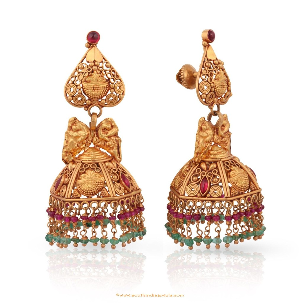 22k Gold Antique Jhumka Design from Malabar Gold & Diamonds