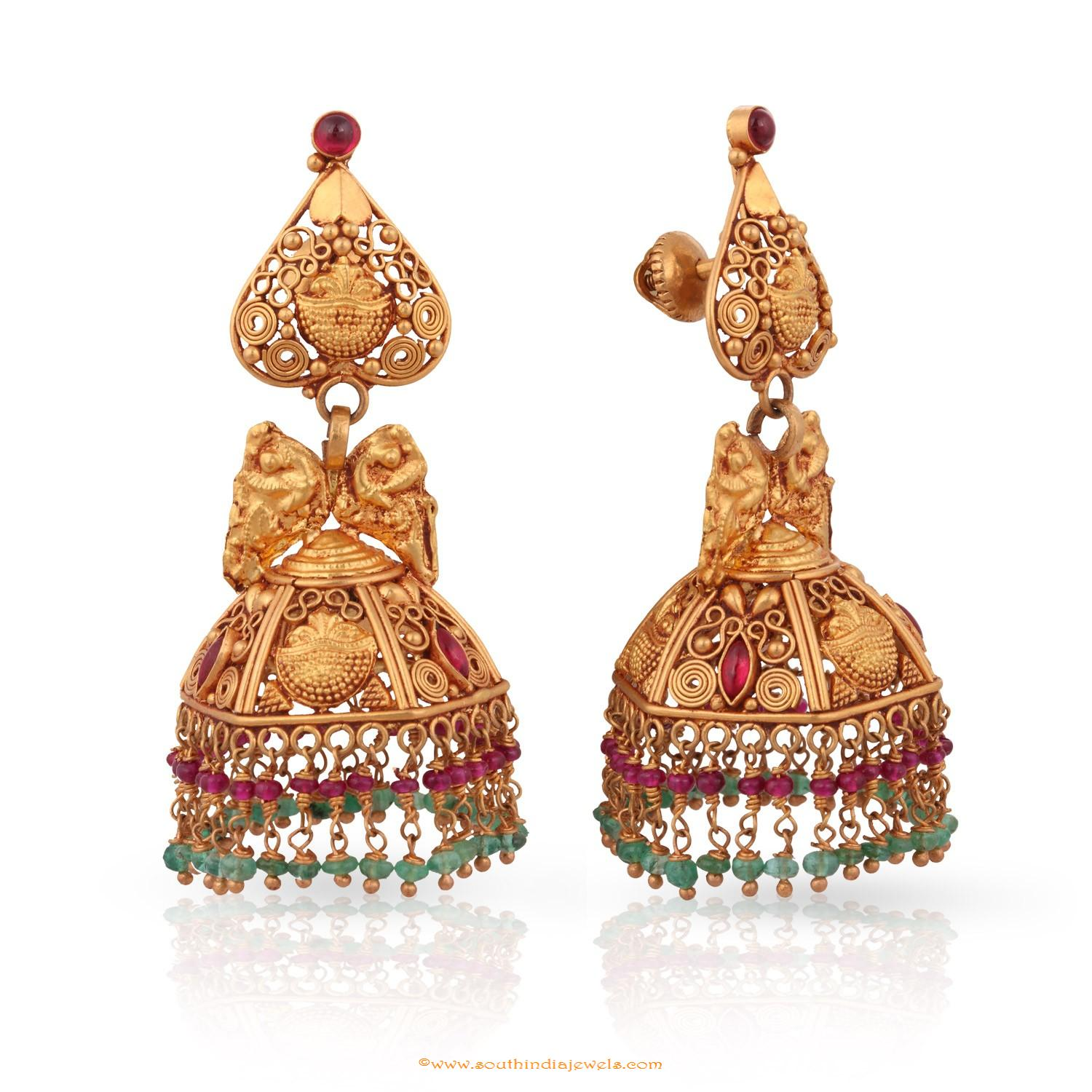 Gold Antique Jhumka from Malabar Gold & Diamonds ~ South India Jewels