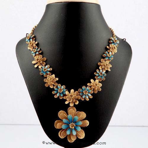 22k gold designer necklace from Bhima Jewellery