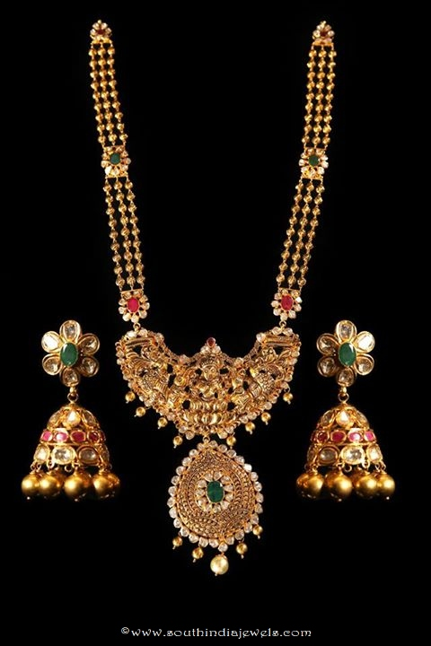 22k gold temple jewellery haram wih matching jhumka
