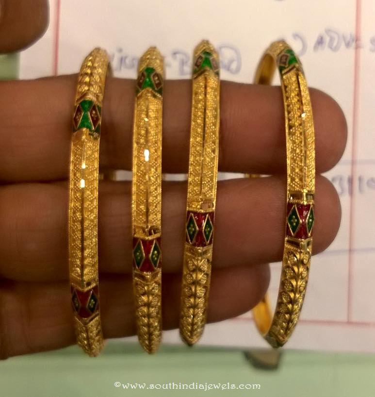 Gold Bangles Design with Emanel coating