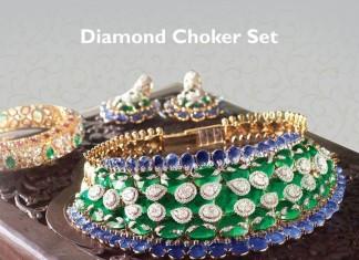 Bridal Diamond Choker set with blue stones from VBJ