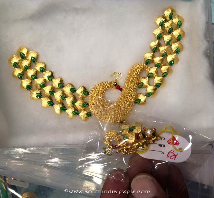 Fancy Gold Peacock Short Necklace