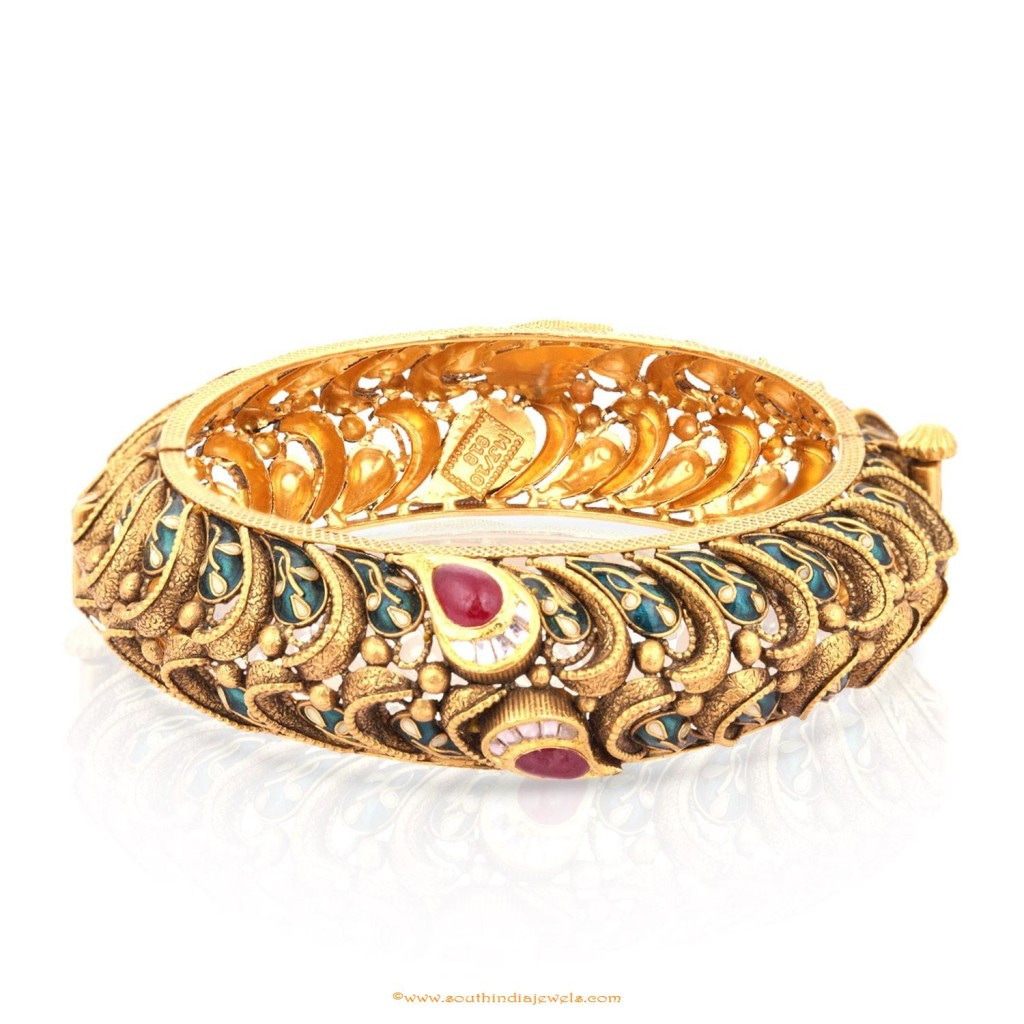 Gold Antique Kada Bangle From Malabar Gold and Diamonds