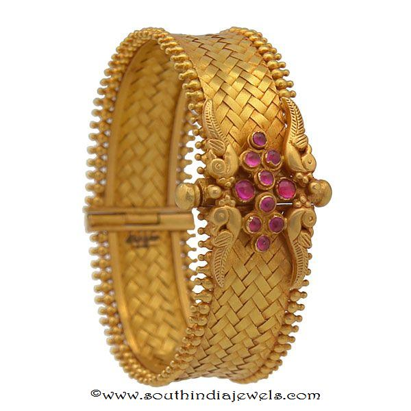 gold anitque ruby kada bangle design