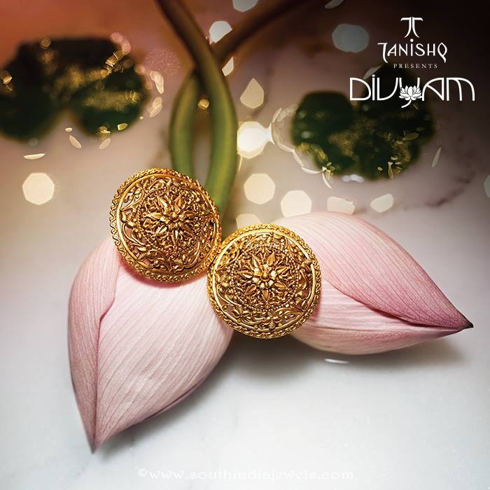 Gold Earrings Design From Tanishq Divyam Collections ~ South India ...