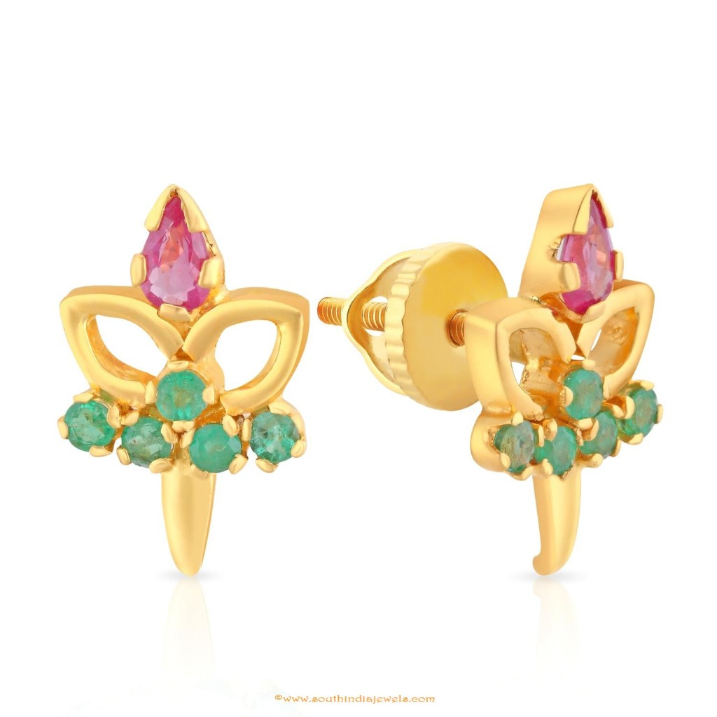 Gold Ruby Emerald Earrings Design From Malabar Gold & Diamonds