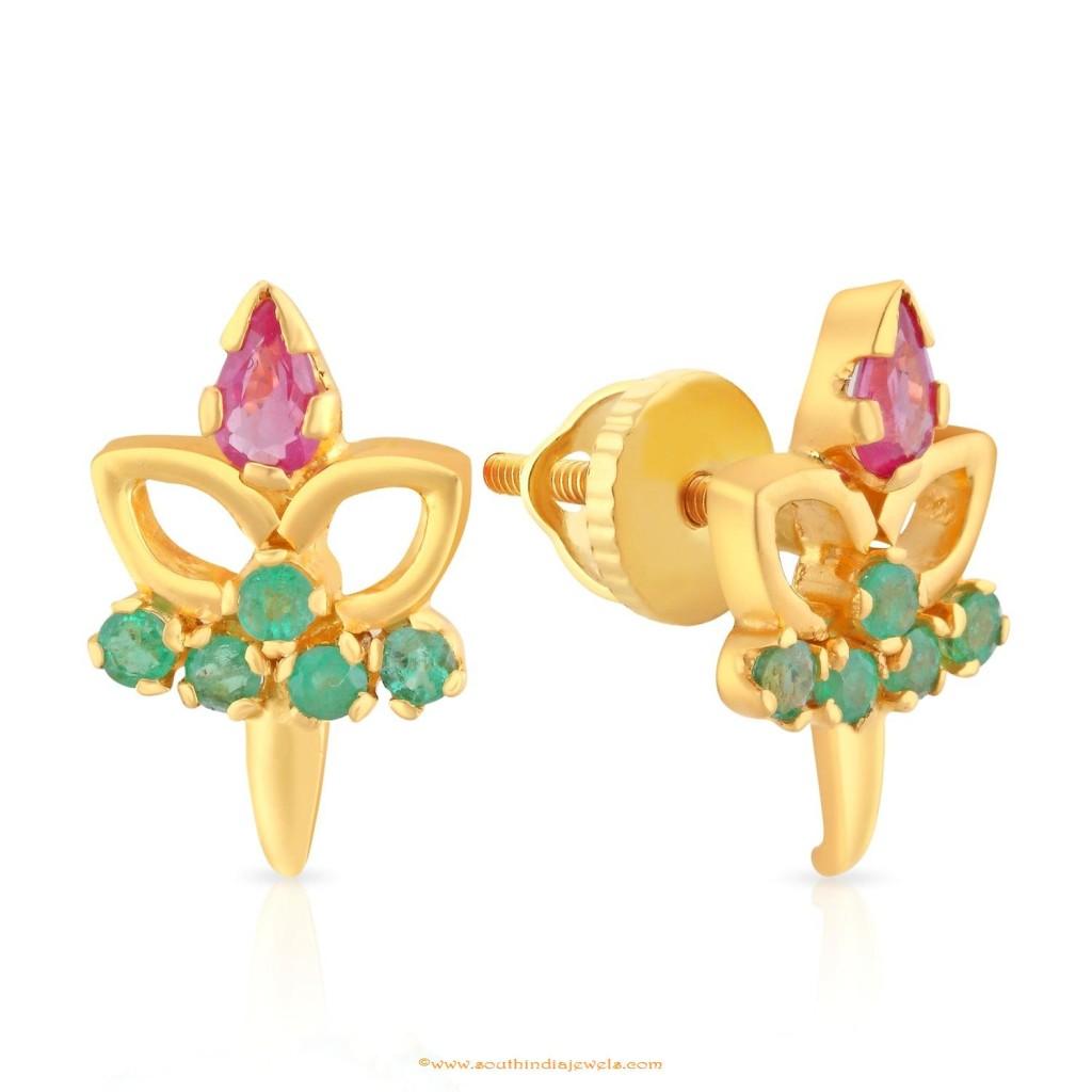 Gold Ruby Emerald Earrings Design From Malabar Gold & Diamonds