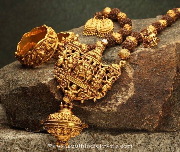 Gold- antique rudrakshamala set from naj
