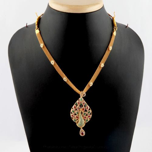 Gold Short Necklace Design From Bhima Jewellery