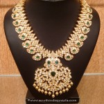 Gold Uncut Diamond Emerald Necklace