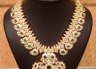 Gold Uncut Diamond Emerald Necklace from NAJ
