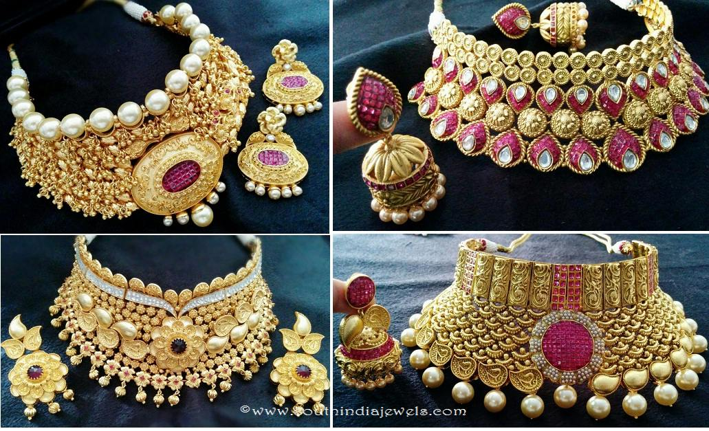 Grand Wedding Choker Necklace Sets South India Jewels