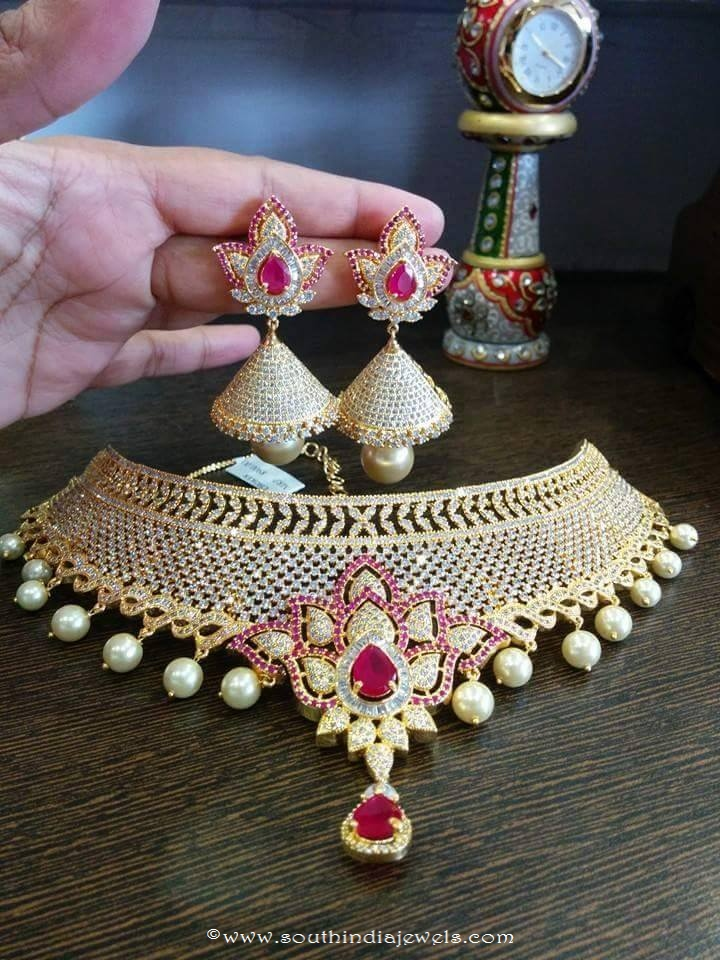1 Gram Gold Bridal Choker with Jhumka