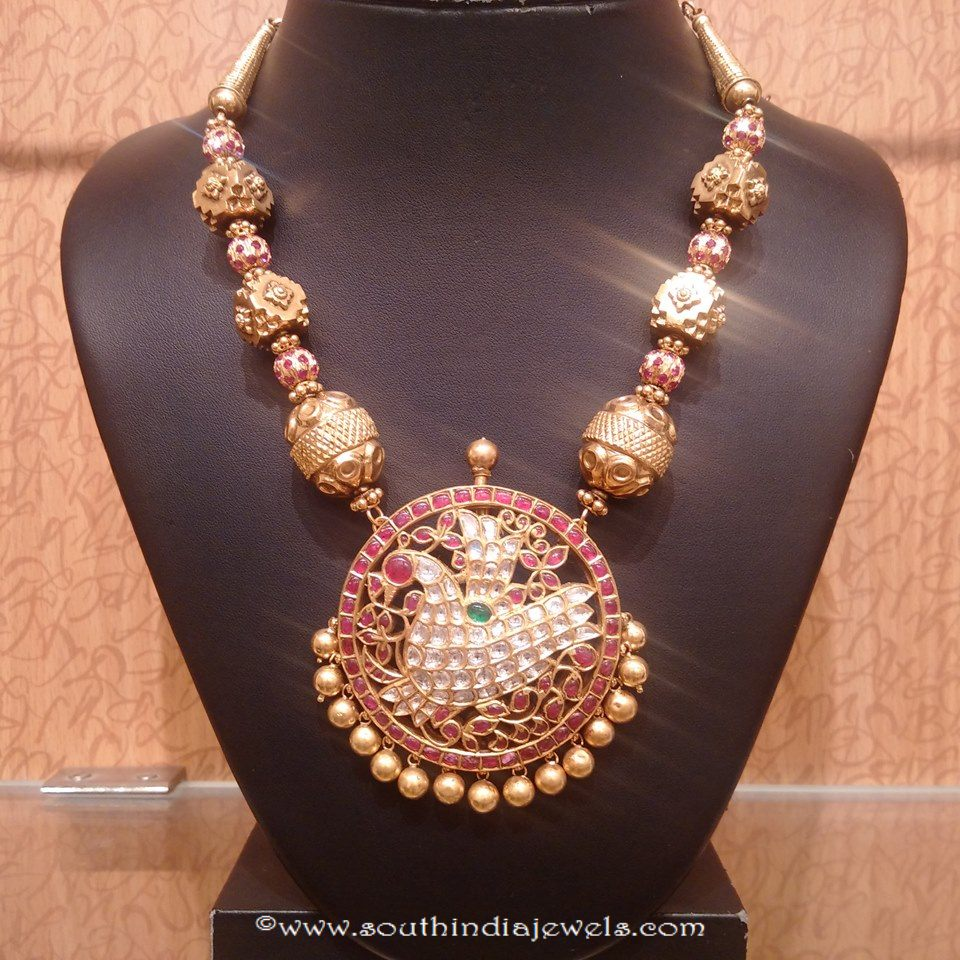 Heritage Gold Antique mala with peacock pendant