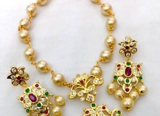 Imitation Pearl Short Necklace Set From Swarnakshi