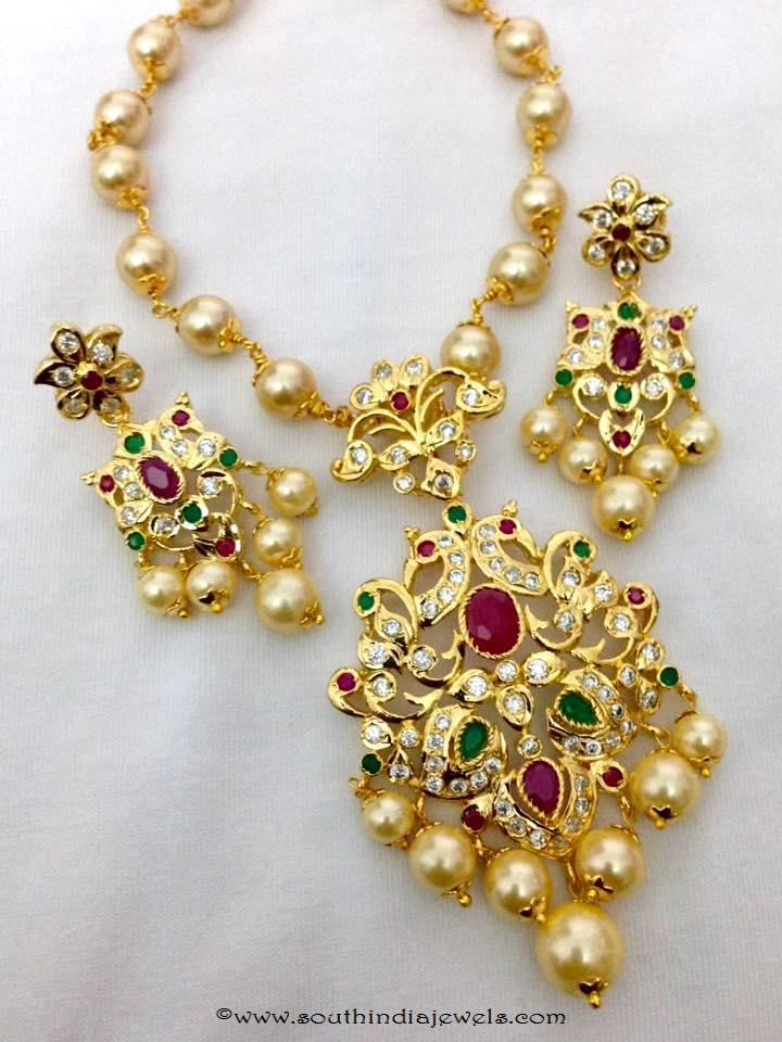 Imitation Pearl Short Necklace Set From Swarnakshi