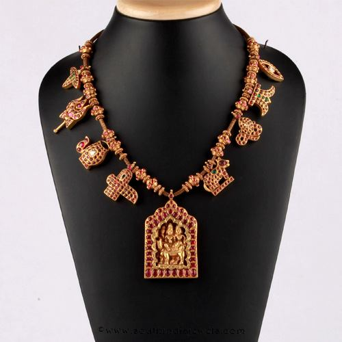 Kerala style Kemp Necklace Design From Bhima Jewellery