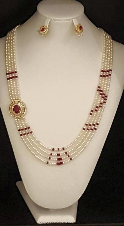 Artificial Pearl Ruby Mala Design from Shringar Fashion Jewellery