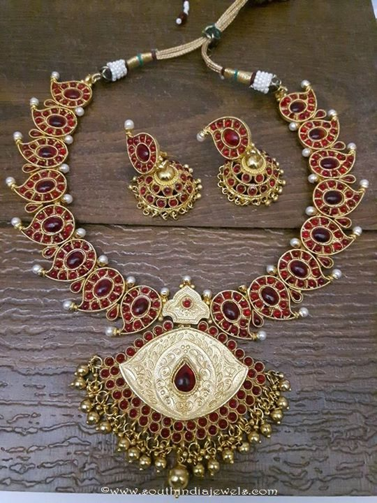 Red Kemp Mango Necklace with Jhumka