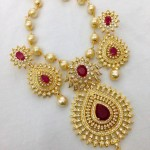 Imitation Ruby Necklace Set with Pearls