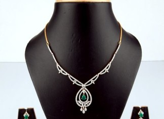 Simple Gold Diamond Necklace Design From Bhima Jewellery