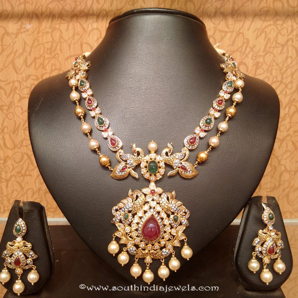 Traditional Gold Double Layer Necklace Set from Naj Jewellery