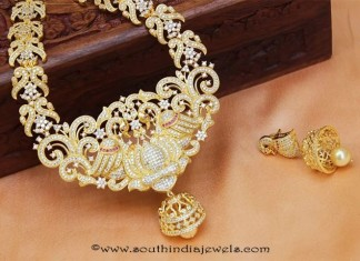 Traditioanl Gold Stone Peacock Haram With Jhumka