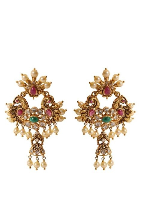 Gold Designer Antique Earrings Mor Jewellers