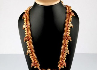 Gold antique Long Necklace Design From Bhima Jewellery