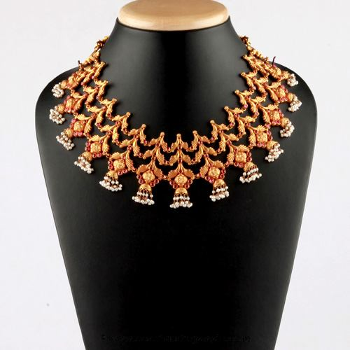 Gold Antique Choker Necklace from Bhima Jewellery