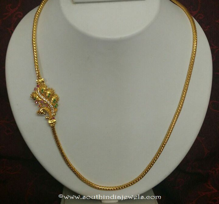 gold plated chains with side mogappu designs