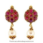 Gold Ruby Pearl Earrings From Prince Jewellery