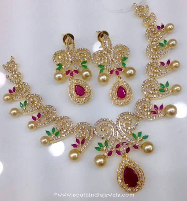 One Gram Gold Necklace Set with Price South India Jewels